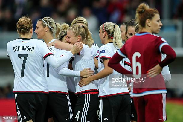 Leonie Maier of Germany celebrates her team's second goal with team mates during the UEFA Women's Euro 2017 Qualifier match between Germany and...