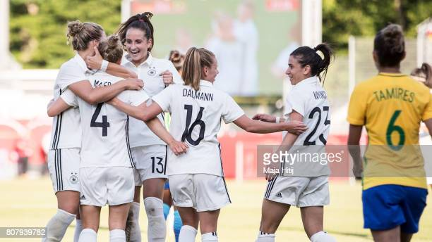 Leonie Maier of Germany celebrates with her team after scoring a goal to make it 31 during the Women's International Friendly match between Germany...