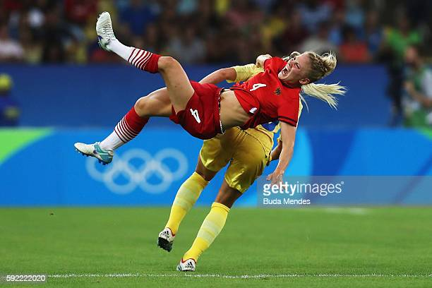 Leonie Maier of Germany is challenged by Elin Rubensson of Sweden during the Women's Olympic Gold Medal match between Sweden and Germany at Maracana...