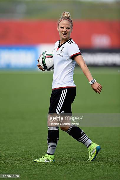 Leonie Maier of Germany looks on during a training session at Waverley Soccer Complex on June 13 2015 in Winnipeg Canada