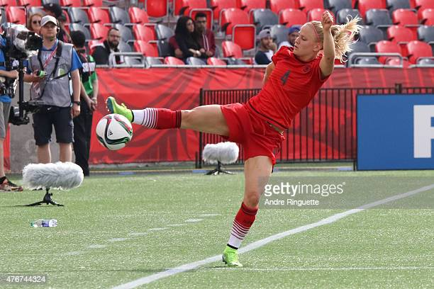 Leonie Maier of Germany reaches to keep the ball in bounds during the FIFA Women's World Cup Canada 2015 Group B match between Germany and Norway at...