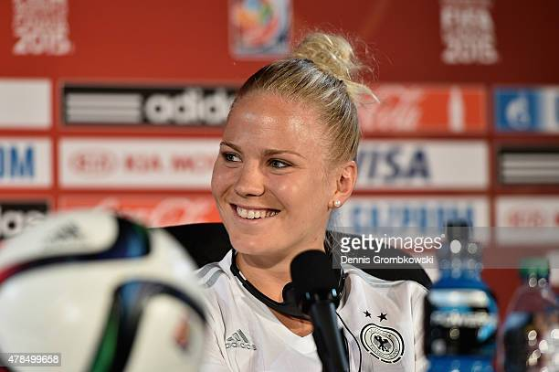 Leonie Maier of Germany reacts during a press conference at Stade Olympique de Montreal on June 25 2015 in Montreal Canada