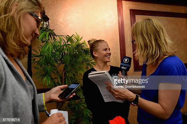 Leonie Maier of Germany reacts during a press conference at the RBC Convention Centre on June 13 2015 in Winnipeg Canada
