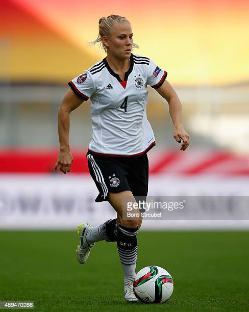 Leonie Maier of Germany runs with the ball during the UEFA Women's Euro 2017 Qualifier between Germany and Hungary at Erdgas Sportpark on September...