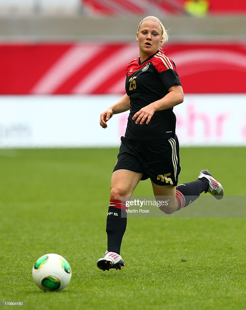 Leonie Maier of Germany runs with the ball during the Women's International Friendly match between Germany and Canada at Benteler Arena on June 19, 2013 in Paderborn, Germany.