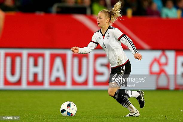 Leonie Maier of Germany runs with the ball during the Women's International Friendly match between Germany and England at SchauinslandReisenArena on...