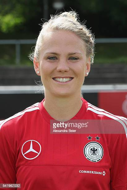 Leonie Maier of Germany's women football team smiles during the official team presentation on June 21 2016 in Grassau Germany