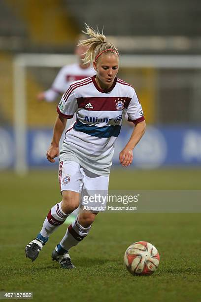 Leonie Maier of Muenchen runs with the ball during the Allianz FrauenBundesliga match between FC Bayern Muenchen and Turbine Potsdam at Stadion an...