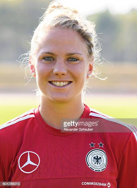 Leonie Maier poses during the Germany Women's team presentation on September 13 2016 in Frankfurt am Main Germany