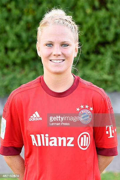 Leonie Maier poses during the team presentation of the FC Bayern Muenchen women's team on July 27 2015 in Munich Germany
