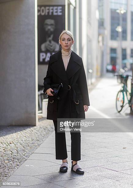Leonie Markhorst wearing Caban Eliah duffle coat Lala Berlin Long sleeves loose cut matching belt beige Avelon blouse black Zara cropped pants black...