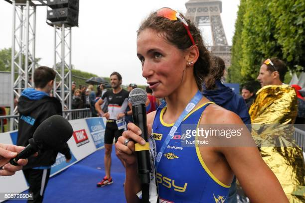 Leonie Periault of France wins the womens race of the 2017 edition of the Paris triathlon on July 2 2017 in Paris An unprecedented course located...