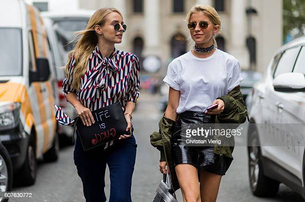 Leonie Sophie Hanne and Caro Daur outside Topshop during London Fashion Week Spring/Summer collections 2017 on September 18 2016 in London United...