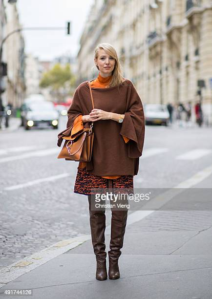Leonie Sophie Hanne wearing vintage shoes Zara sweater M Missoni skirt Chloe bag at Miu Miu during the Paris Fashion Week Womenswear Spring/Summer...