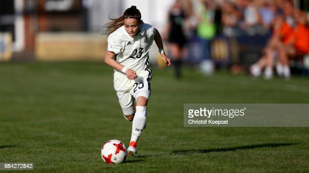 Leonie Zilger of Germany runs with the ball during the U15 girl's international friendly match between Germany and Netherlands at Getraenke Hoffmann...