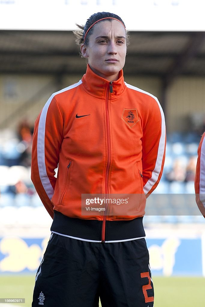 Leonne Stentler of Holland during the Women's international friendly match between Netherlands and Wales, at Tata steel stadium on November 25, 2012 in Velzen-Zuid, Netherlands.
