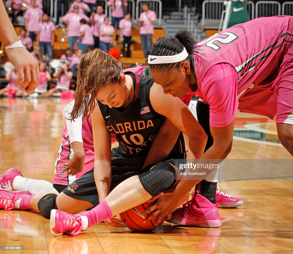 Leonor Rodriguez #10 of the Florida State Seminoles and Keyona Hayes #20 of the Miami Hurricanes fight for control of the ball on February 10, 2013 at the BankUnited Center in Coral Gables, Florida. The Seminoles defeated the Hurricanes 93-78.