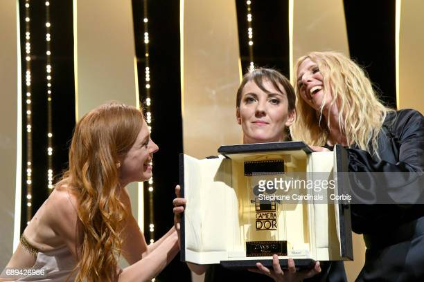 Leonor Serraille poses with the Camera d'Or won for the movie 'Jeune Femme' President of the Camera d'Or jury Sandrine Kiberlain and actress Laetitia...