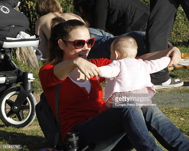 Leonor Watling and her daughter Lea Drexler are seen on February 27 2012 in Madrid Spain