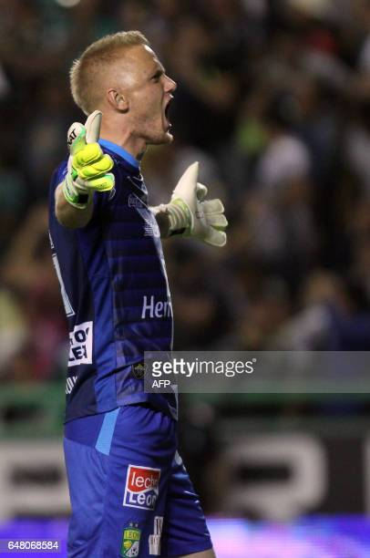 Leon's goalkeeper William Yarbrough celebrates a goal of the team against America during their Mexican Clausura 2017 Tournament football match at Nou...