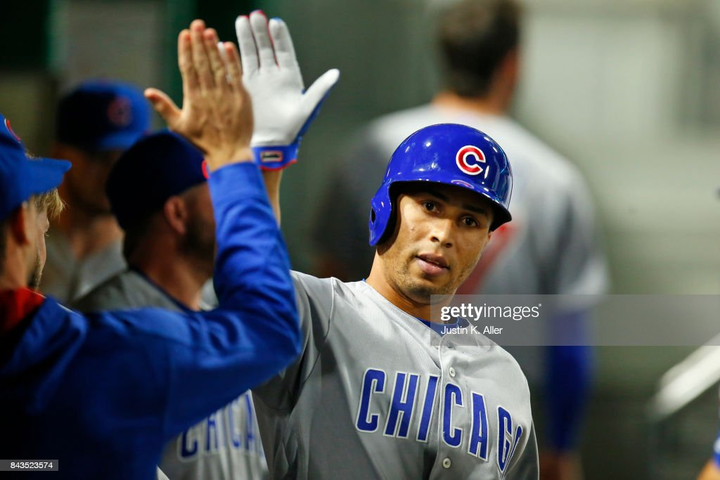 Leonys Martin #24 of the Chicago Cubs scores on a RBI triple in the ninth inning against the Pittsburgh Pirates at PNC Park on September 6, 2017 in Pittsburgh, Pennsylvania.