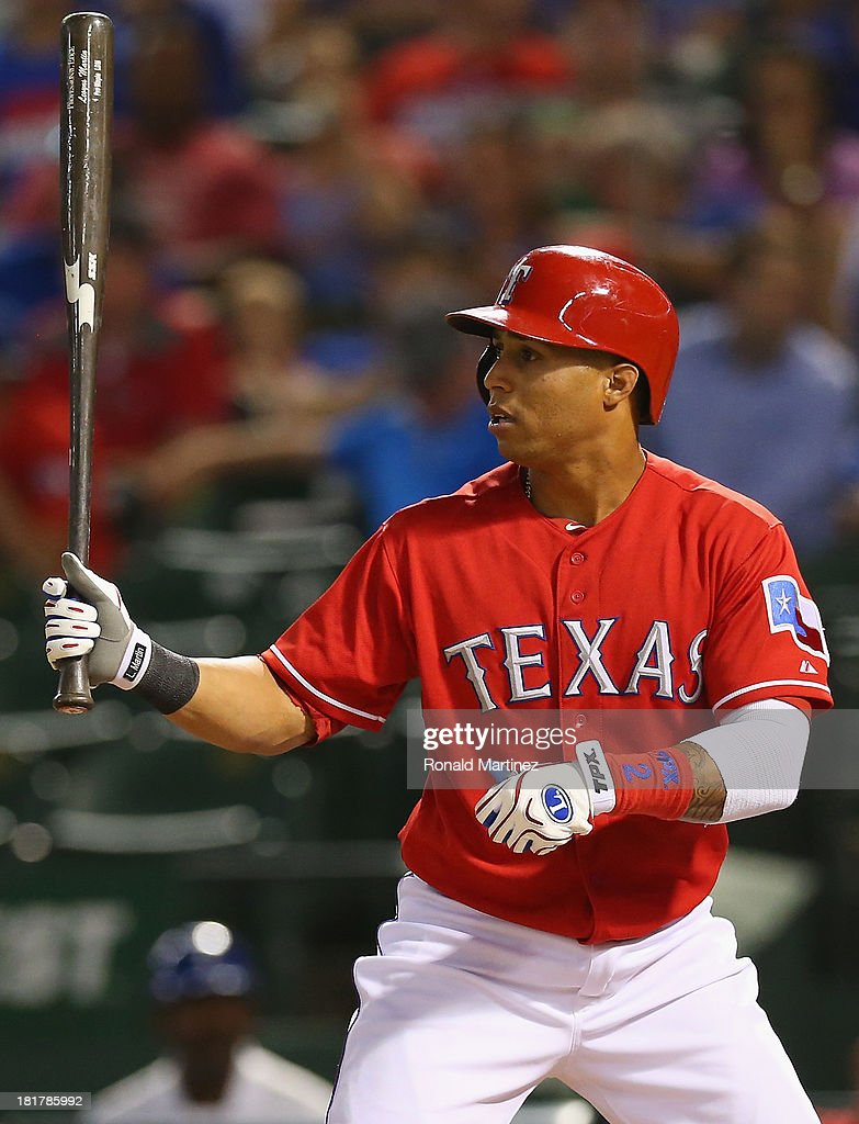 Leonys Martin #2 of the Texas Rangers at Rangers Ballpark in Arlington on September 24, 2013 in Arlington, Texas.