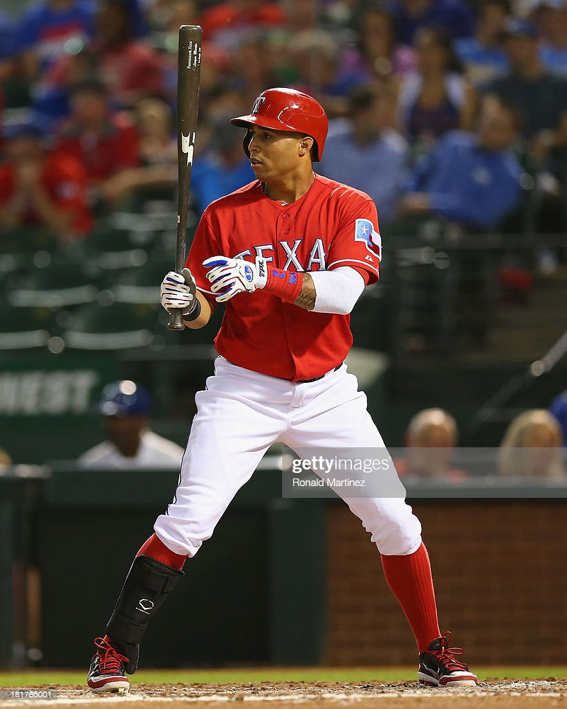 Leonys Martin #2 of the Texas Rangers at Rangers Ballpark in Arlington on September 24, 2013 in Arlington, Texas.