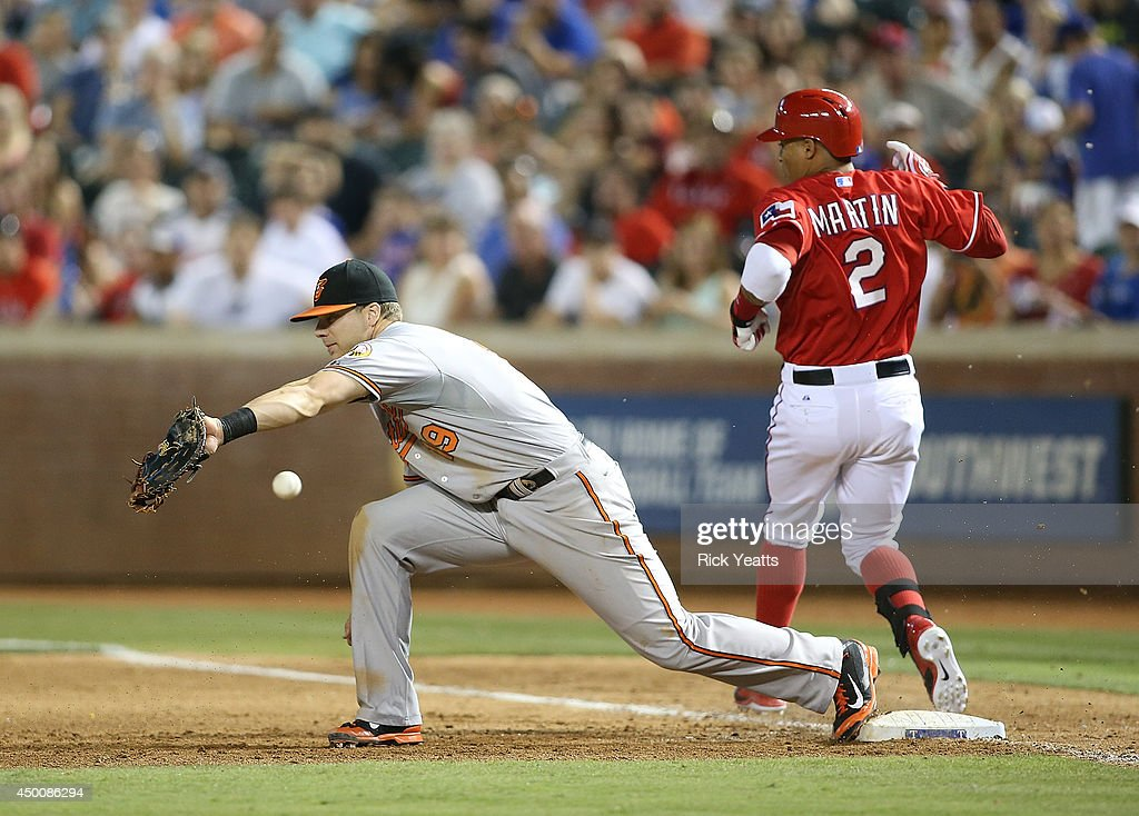 Leonys Martin #2 of the Texas Rangers runs for a double in the sixth inning on an error by Chris Davis #19 of the Baltimore Orioles at Globe Life Park in Arlington on June 4, 2014 in Arlington, Texas.