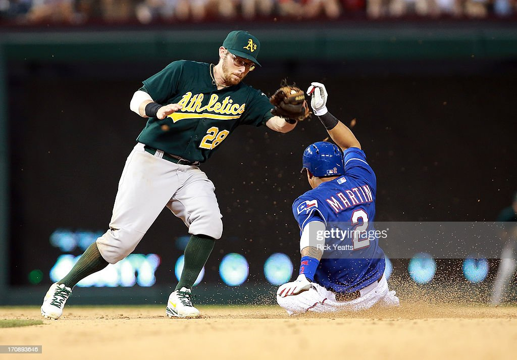 Leonys Martin #2 of the Texas Rangers steals second base against Scott <a gi-track='captionPersonalityLinkClicked' href=/galleries/search?phrase=Eric+Sogard&family=editorial&specificpeople=6796459 ng-click='$event.stopPropagation()'>Eric Sogard</a> #28 of the Oakland Athletics at Rangers Ballpark in Arlington on June 19, 2013 in Arlington, Texas.
