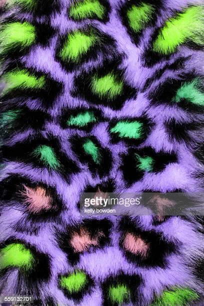 Leopard print faux fur material