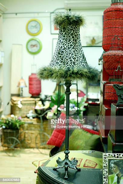 Leopard Print feather lamp from Ibis Homewares Penrth 4 July 2006 SMH Picture by NATALIE BOOG