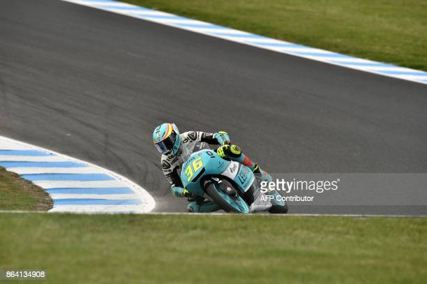 Leopard Racing Honda rider Joan Mir of Spain powers his machine during the qualifying session of the Moto3class at the Australian MotoGP Grand Prix...