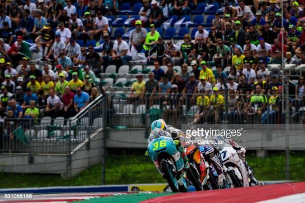 Leopard Racing's Spanish rider Joan Mir Red Bull KTM Ajo's Dutch rider Bo Bendsneyder Del Conca Gresini Moto3's Spanish rider Jorge Martin and...