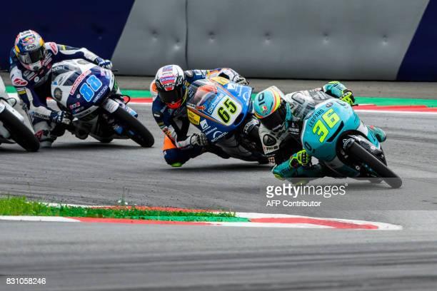 Leopard Racing's Spanish rider Joan Mir Sudmetall Schedl GP Racing's German rider Philipp Oettl and Del Conca Gresini Moto3's Spanish rider Jorge...