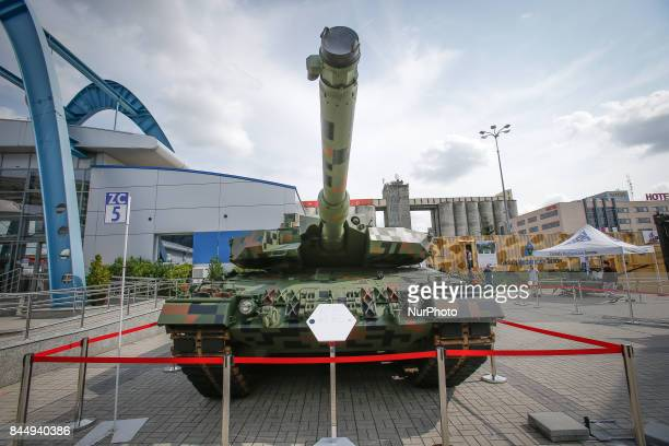 A Leopard tank in digital camouflage pattern is seen at the 25th International Defence Industry Exhibition on 8 September 2017