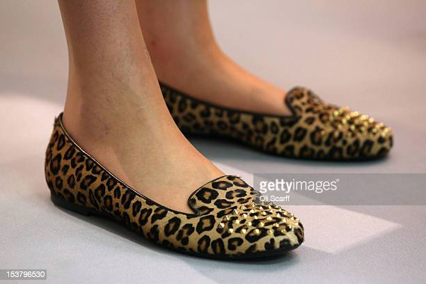 Leopardprint footwear worn by Home Secretary Theresa May at the Conservative party conference in the International Convention Centre on October 9...