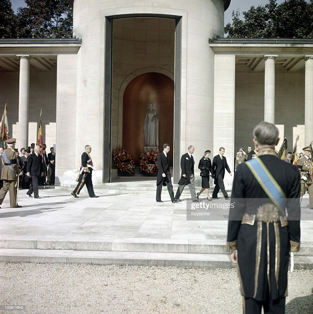 Leopold III of Belgium (1901-1983), former Belgian King, with his sons, King Baudouin and Prince Albert, and his daughter Princess Josephine-Charlotte after visiting the tomb of his late wife, Queen Astrid, in Laeken, Belgium, 1966. Leopold III reigned as King of the Belgians from 1934 until 1951, when he abdicated in favour of his son Baudouin.