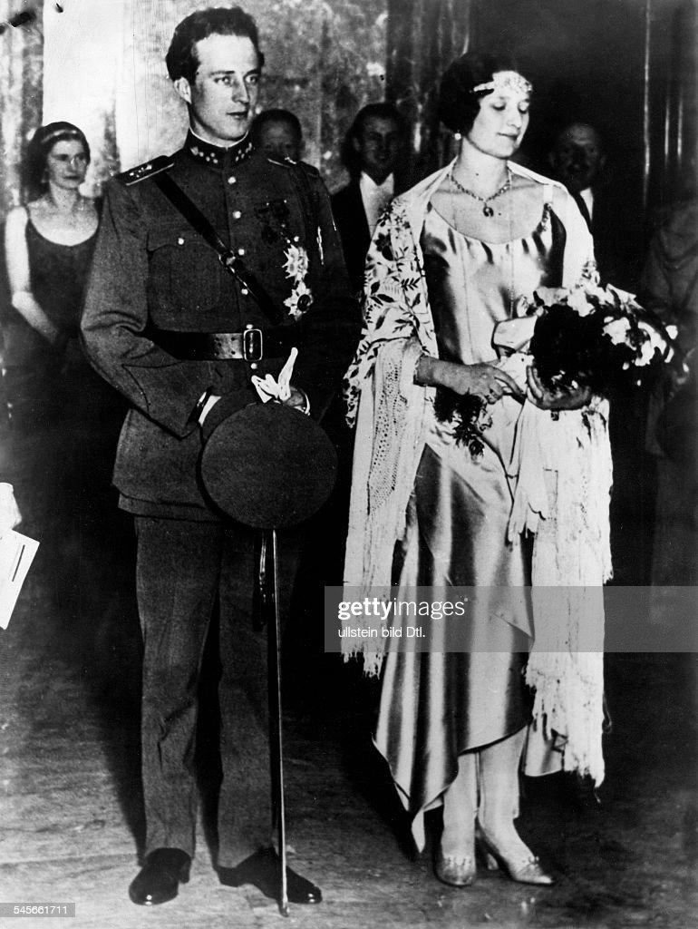Leopold III. von Belgien *-+Koenig von 1934-1951- mit Koenigin Astrid- 1934
