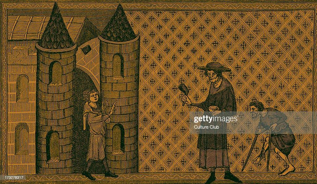 Leper House from miniature in Vincent de Beauvais 's 'Miroir Historical' 13th century manuscript