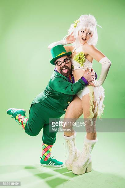 Leprechaun and a Woodland Nymph of Super Geek League pose for a portrait backstage during the USC Lucky Festival on March 12 2016 at The Tacoma Dome...