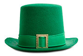 Green leprechaun hat on white background.