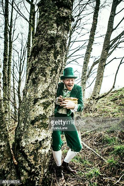 Leprechaun Man Hiding Pot of Gold