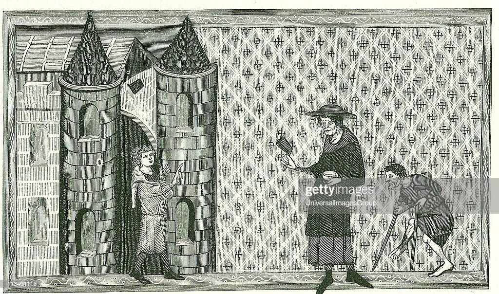 Leprosy Leper with begging bowl and bell or rattle which he is shaking to warn that he is 'unclean' Engraving after a 13th century manuscript Miroir...