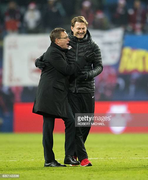 Lepzig´s Austrian head coach Ralph Hasenhuettl and Manager Ralf Rangnick celebrate after the German first division Bundesliga football match between...
