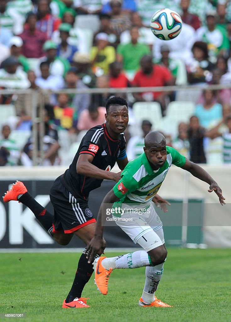 Lerato Lamola of Celtics and Siyabonga Sangweni of Pirates compete during the Absa Premiership match between Bloemfontein Celtic and Orlando Pirates at Free State Stadium on April 21, 2014 in Bloemfontein, South Africa.