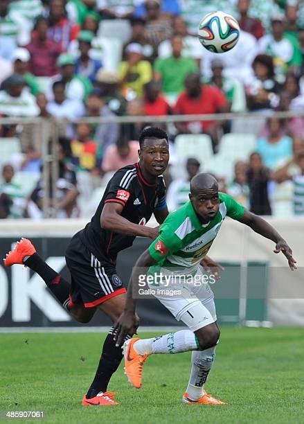 Lerato Lamola of Celtics and Siyabonga Sangweni of Pirates compete during the Absa Premiership match between Bloemfontein Celtic and Orlando Pirates...