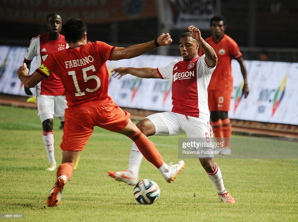 Lerin Duarte of AFC Ajax battle for the ball during the international friendly match between Perija Jakarta and AFC Ajax on May 11, 2014 in Jakarta, Indonesia. AFC Ajax win the game with score 3-0.