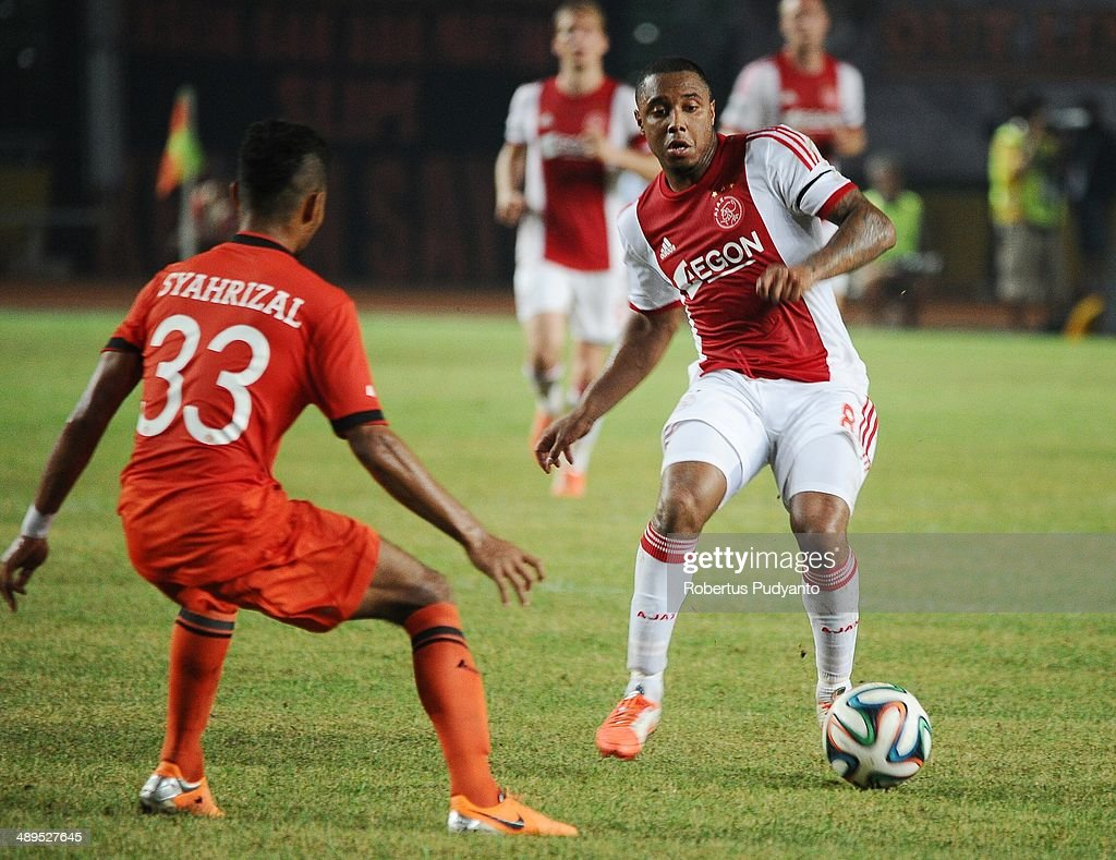 Lerin Duarte of AFC Ajax battles for the ball during the international friendly match between Perija Jakarta and AFC Ajax on May 11, 2014 in Jakarta, Indonesia. AFC Ajax win the game with score 3-0.