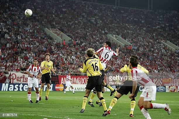 Leroklis Stoltidis of Olympiakos opens the scoring during the Champions League Group A match between Olympiakos and Liverpool at Karaiskaki Stadium...
