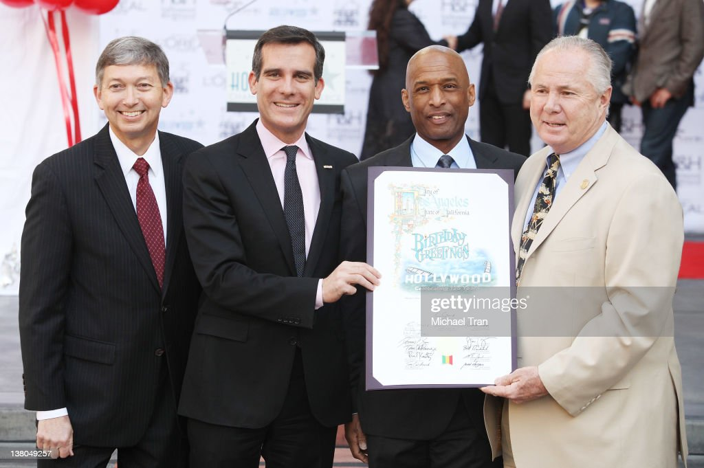 Leron Gubler Eric Garcetti Marty Shelton and Tom LaBonge attend the Hollywood Chamber of Commerce celebrates Hollywood's 125th birthday held at...
